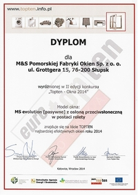 Dyplom Top Ten okna 2014